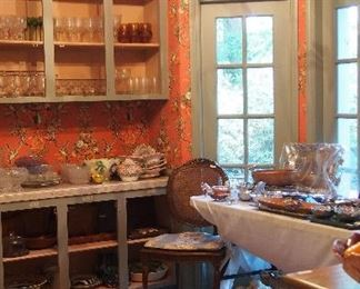 PACKED vintage kitchen full of glass, china, pots & pans