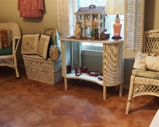 Vintage White Wicker vanity, chairs, chests, side tables and more