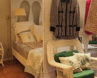 Vintage White Wicker Canopy Bed
