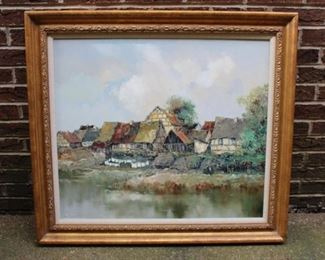 Willi Bauer painting.  Buildings Along Stream