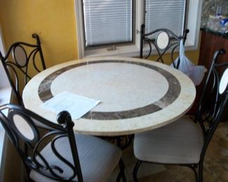 marble top kitchen table & chairs