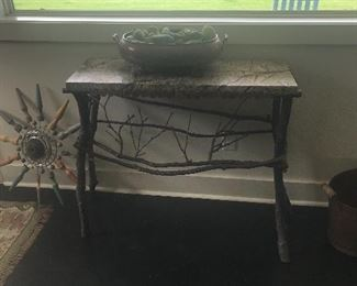 Twig console with marble top