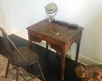 Antique desk   Windsor chair