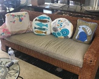 4 piece vintage wicker with ticking upholstery