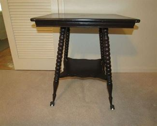 Antique table with glass ball feet