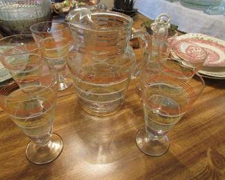 Retro striped Pitcher and 6 glasses