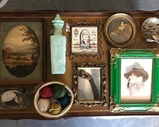 lot of picture frames, opaline glass bottle