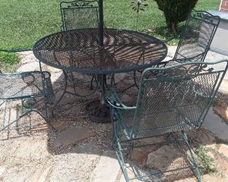 metal patio set with umbrella