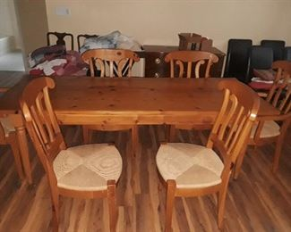 "Pine 72"" dining table with six chairs"