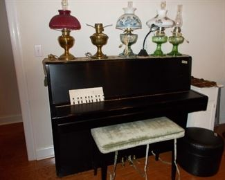 Piano, Bradley and Hubbard, Aladdin lamps, footstool