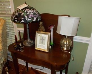 game table, lamps