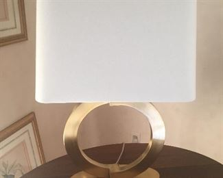 Pair of Brass Circle Lamps with Linen Shade Brushed