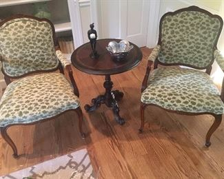 Pair of Custom Animal Print Arm Chairs & Round Side Table