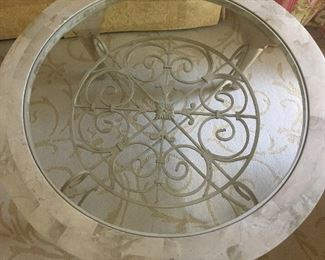 TOP VIEW of METAL & GLASS ROUND COFFEE TABLE