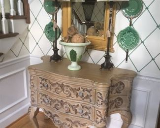 French Antique Style, Carved, 2 drawer Chest, PAIR OF LAMPS, MIRROR
