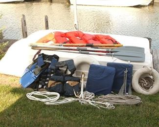 Row Boat, Ropes, Anchors, Life vest