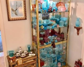 Large selection of antique and collectible glassware, pottery and china: Fenton, hobnail, opalescent, carnival, Lladro, Belleek, Murano, Royal Doulton, Rosenthal, Royal Albert, Van Briggle, Roseville, Weller, Frankoma, etc.