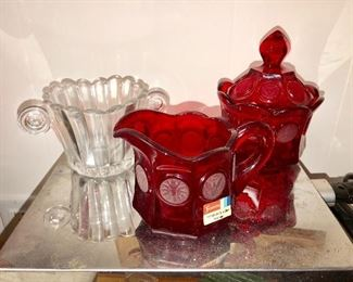 """Heisey, and Fostoria """"Coin Glass"""""""