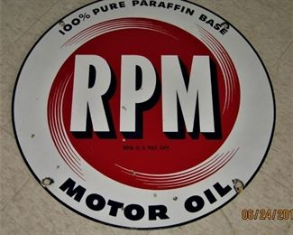 RPM Motor Oil double-sided porcelain service station sign.