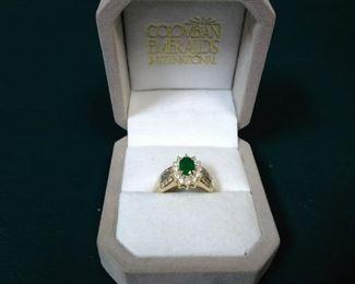 jewelry 14k gold diamond ring emerald