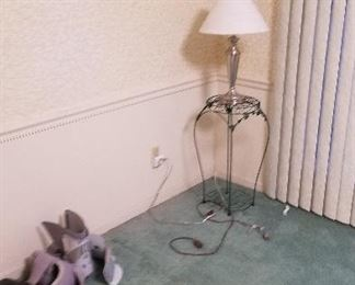 metal table and lamp
