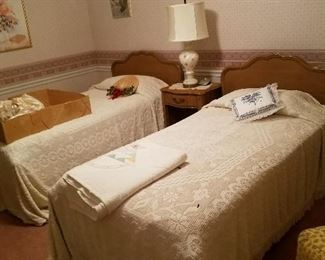 twin beds, vintage wedding gown, quilt and more