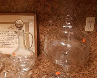Etched glass cake container and etched glass decanter with 2 matching glasses