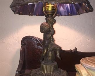 Nice early slag glass lamp