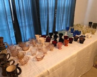 Unusual mugs and Depression Glass
