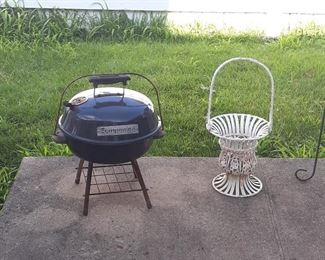 smaller grill and metal basket planter