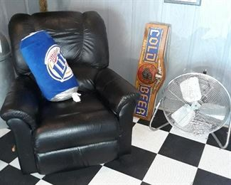 LazyBoy Recliner, beer sign and stainless air fan