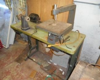 vintage power tools ,  sharpener and deep throat scroll saw . working