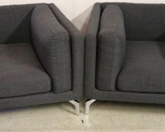 Pair chrome foot arm chairs