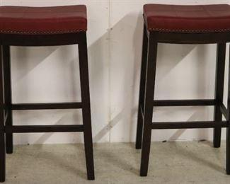Pair leather seat barstools