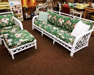 WICKER COUCH, CHAIR AND OTTOMAN