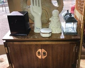 Small Asian-themed cabinet, pottery, antique humidor and more.