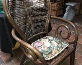 One of two rattan fan chairs.