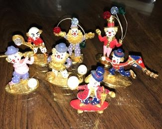 Cute little enameled pewter clowns, each with a crystal ball. Made in USA by Spoontiques.