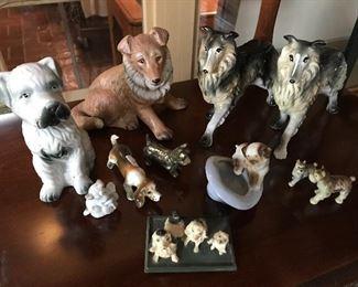 Dozens of vintage and antique dog figurines—metal, cast iron, bone china, ceramic—all kinds.