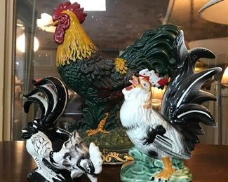 Lots of chicken decor—rooster door stop, montage and contemporary ceramics.