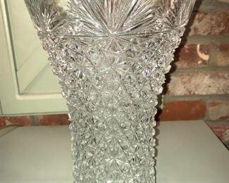 "Beautiful brilliant cut crystal vase, approximately 14""."