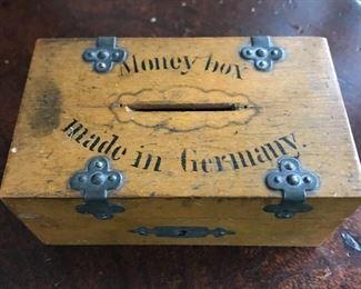 Small vintage wooden money box.