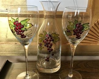Wine carafe and 2 goblets, handpainted.