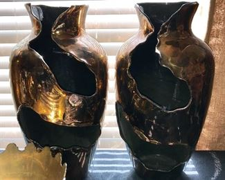 Pair decorative pottery.