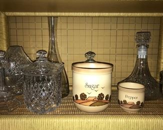 Decanters, biscuit jars, glass baskets.