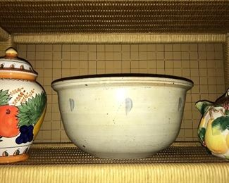Large pottery bowl, decorative and useful kitchen items.