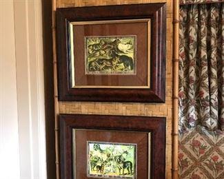 Assorted framed dog prints.