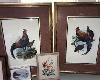 Assorted framed prints.