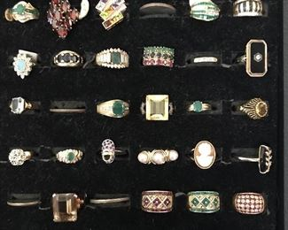 Over 60 10k and 14k gold rings with precious and semi-precious stones.