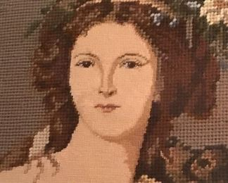 Remarkable portrait done in needlepoint.